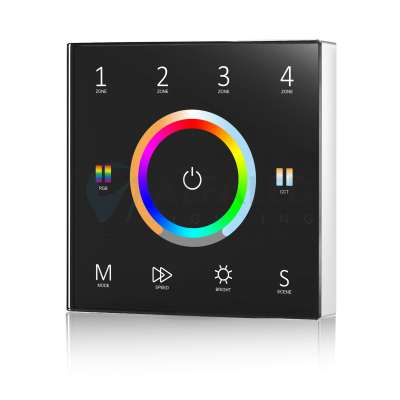 Bezdrôtový nástenný 4 zónový RGB+Dual White ovládač ATTRACTIVE - Black