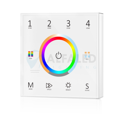 Bezdrôtový nástenný 4 zónový RGB+Dual White ovládač ATTRACTIVE - White