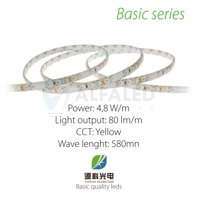 LED pás BASIC series 4,8W/12V 60 LED/m  IP54 - ŽLTÁ
