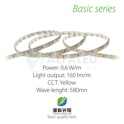 LED pás BASIC series 9,6W/12V 120 LED/m  IP54 - ŽLTÁ