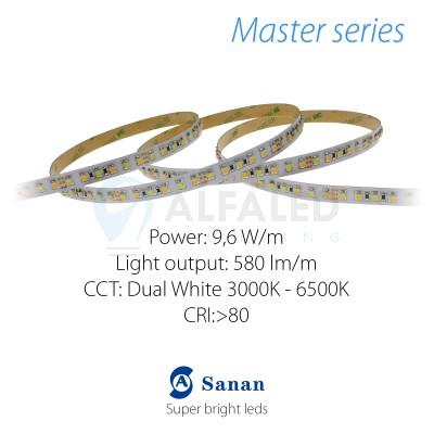 LED pás MASTER series 9,6W/12 120 LED/m 3528 - Dual White