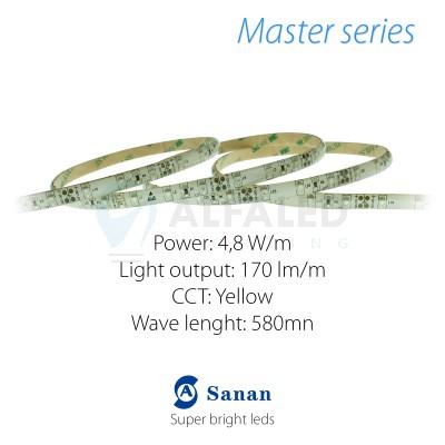 LED pás MASTER series 4,8W/12V 60 LED/m IP54 - ŽLTÁ