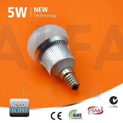 LED žiarovka E14 5W AC/COB SAMSUNG LED - Premium series