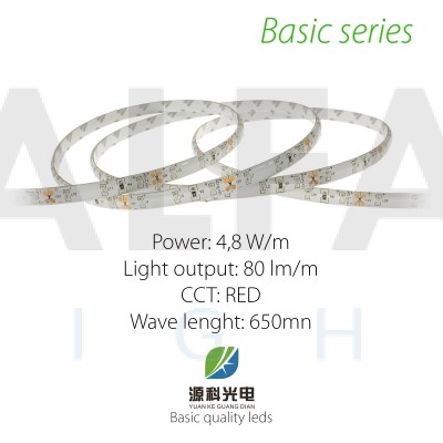 LED pás BASIC series 4,8W/12V 60 LED/m  IP54 - ČERVENÁ