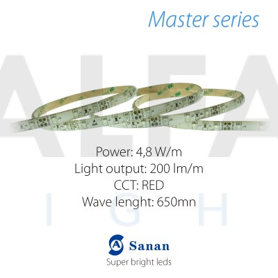 LED pás MASTER series 4,8W/12V 60 LED/m IP54 - ČERVENÁ