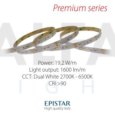 LED pás PREMIUM QUALITY 19,2W/24V 240 LED/m - Dual White