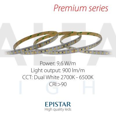 LED pás PREMIUM QUALITY 9,6W/24V 120 LED/m - Dual White