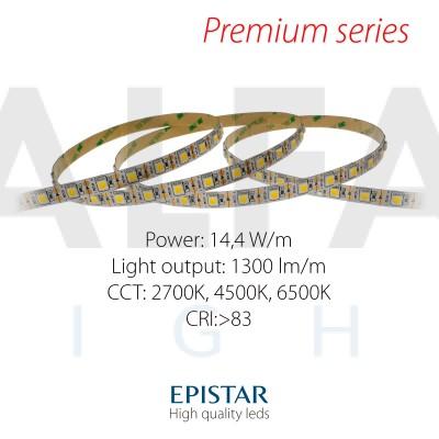 LED pás PREMIUM QUALITY 14,4W/12V 1-LED Cut, 60 LED/m